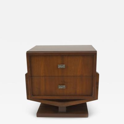 American Mid Century 1970s Brutalist Style Walnut Bedside Table Commode