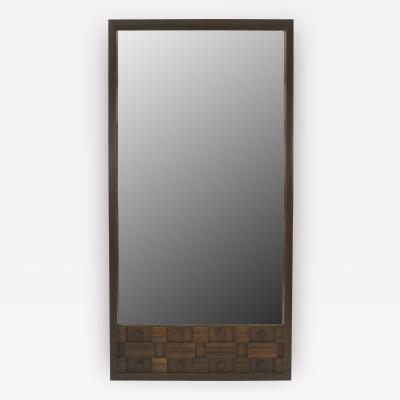 American Mid Century Brutalist Style Walnut Mirror