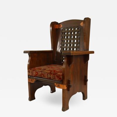American Mission Leather and Oak Wing Chair
