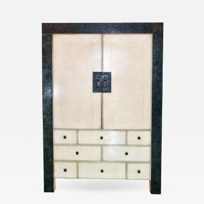 American Modern Parchment Leather Bronze Dry Bar Cabinet Maitland Smith