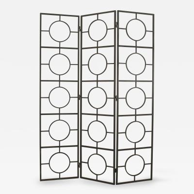 American Post War Design 3 Fold Black Hand Wrought Brushed Steel Screen