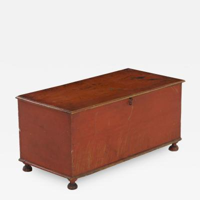 American Red Painted Miniature Blanket Chest circa 1820 40