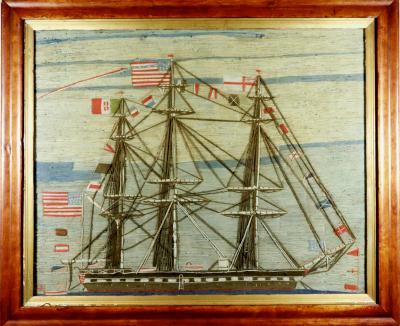 American Sailors Woolwork Woolie of American Battleship Fully Dressed