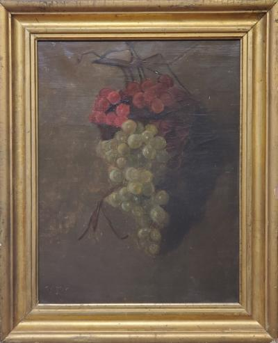 American School American School Still Life of a Cluster of Red and Green Grapes