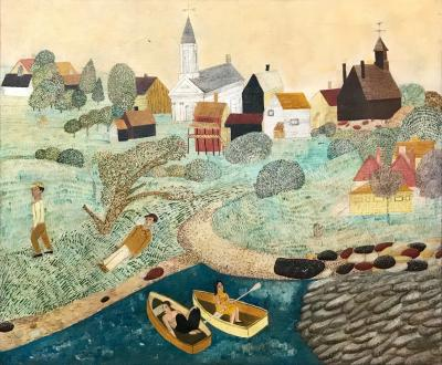 American School Early 20th Century New England Landscape Folk Art Painting