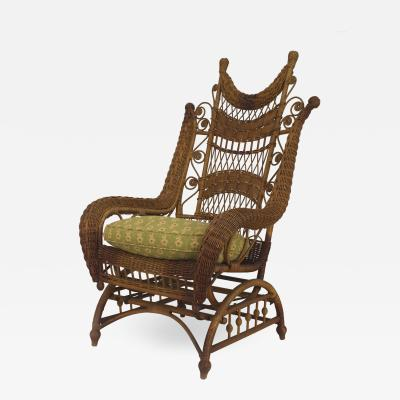 American Victorian Natural Wicker Ornate High Back Platform Rocking Chair