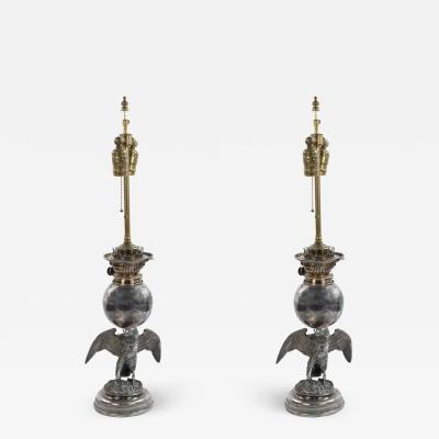American Victorian Silver Plate Eagle Table Lamps