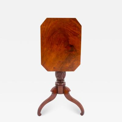 American mahogany tilt top tea table with feather carved pedestal