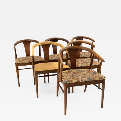 American of Martinsville Mid Century Walnut Barrel Dining Chairs Set of 6