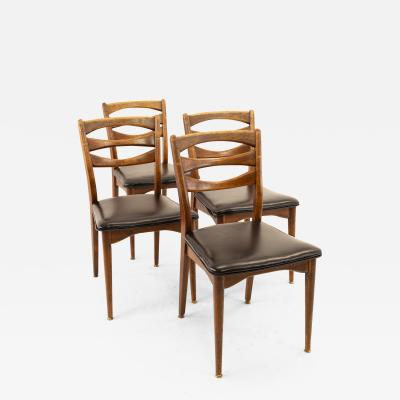 American of Martinsville Mid Century Walnut Dining Chairs Set of 4