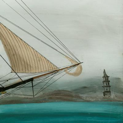 American reverse glass painting of the ship Hurricane of Boston