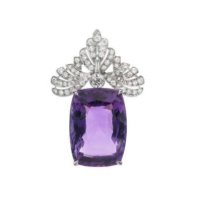 Amethyst Diamond Platinum Pendant