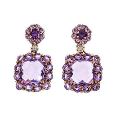 Amethyst Diamond Rose White Gold Dangle Earrings