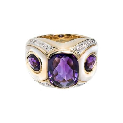 Amethyst Mother of Pearl Diamond Gold Cocktail Ring