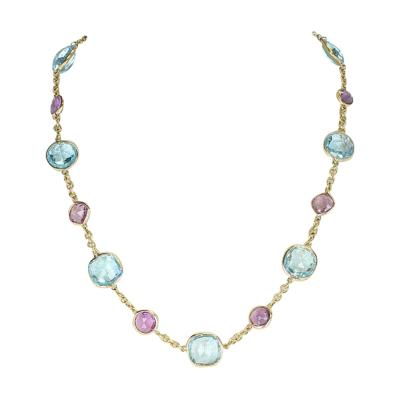 Amethyst and Blue Topaz Faceted Double Cabochon Rose Cut 18 Karat Fine Necklace