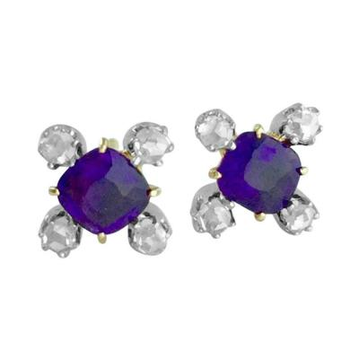 Amethyst and Diamond Ear Studs