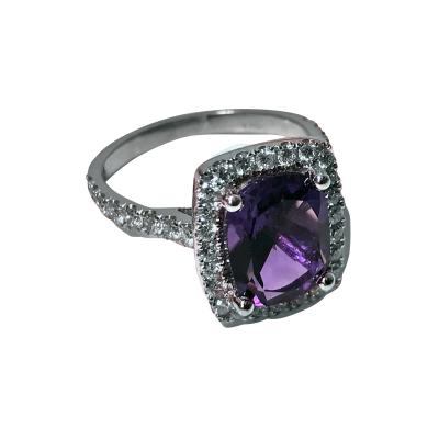 Amethyst and Diamond Gold Ring 20th Century