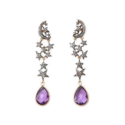Amethyst and Diamond Sun and Moon Dangle Earrings
