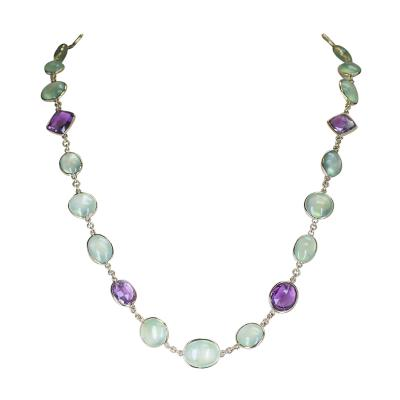 Amethyst and Green Prehnite Double Cabochon Fine 18 Karat Yellow Gold Necklace