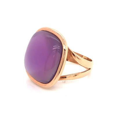Amethyst on Mother of Pearl With 18 K Rose Gold Fashion Ring