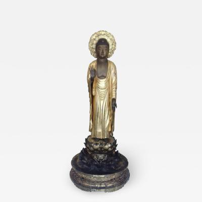 Amida Buddha in Gold Lacquered Wood Edo Period 19th Century
