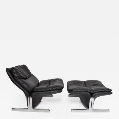 Ammannati Vitelli Ammannati Vitelli Leather Lounge Chair Ottoman Flat Chrome Base ITALY 1970s