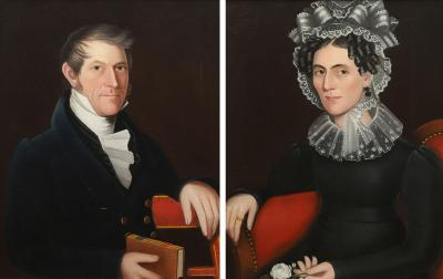 Ammi Phillips A Pair of Portraits Samuel Callender and Sarah Jane Howell