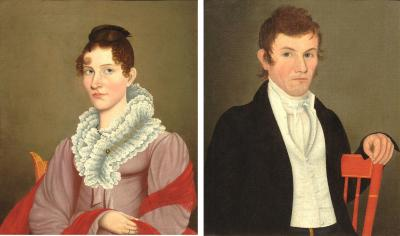 Ammi Phillips Pair of Folk Portraits by Possibly Ammi Phillips