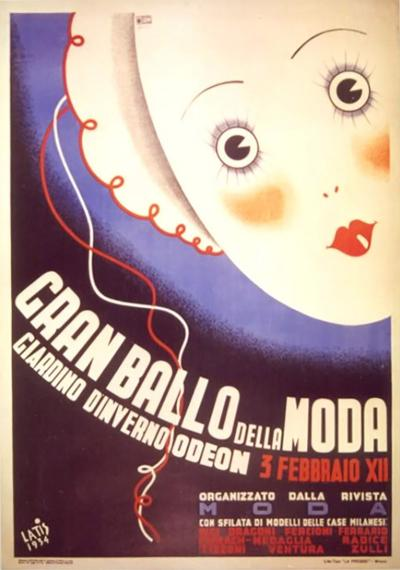 Amneris Latis ON SALE Italian Futurist Period Fashion Ball Poster by Amneris Latis 1934