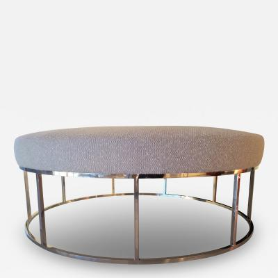 Amparo Calderon Tapia Stunning Custom Designed Round Ottoman with Stainless Steel Base