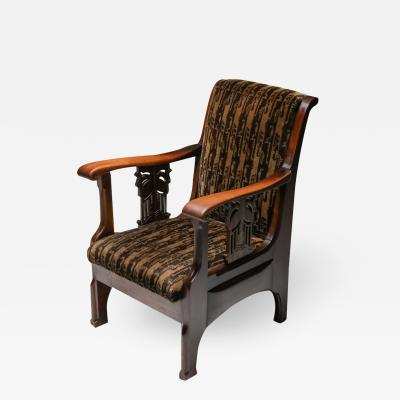 Amsterdam school armchair in Coromandel wood and tuchinksi fabric 1920s