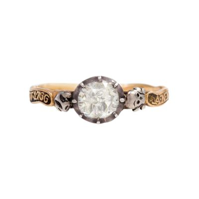 An 18th Century Memento Mori Gold Silver and Diamond Ring