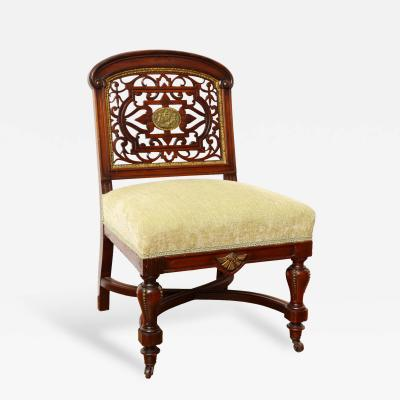 An Aesthetic Movement Carved Mahogany Side Chair