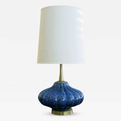 An American Lobed Blue and Green Glazed Ceramic Lamp