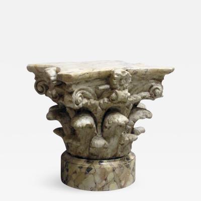 An American Painted Plaster Corinthian Capital with Faux Marble Base and Top