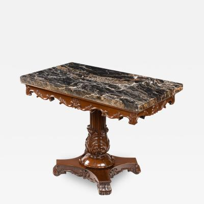An Anglo Indian mahogany table with Nero portoro marble top White Co Calcutta