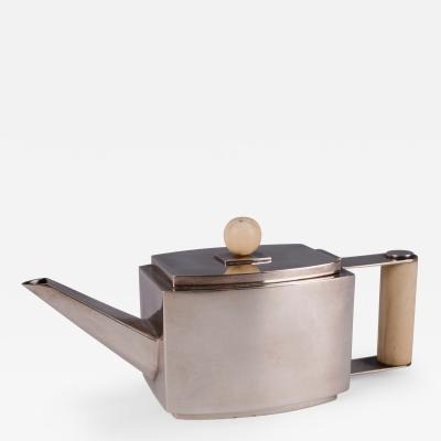An Art Deco Bone Mounted Silver Teapot German ca 1920