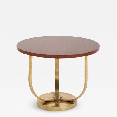 An Art Deco Bronze and Mahogany Side Table