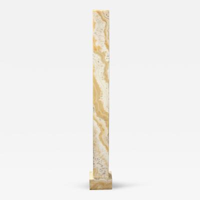 An Art Deco Egyptian Alabaster Square Column Pedestal