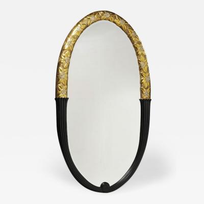 An Art Deco Inspired Gilt and Ebonized Oval Mirror by ILIAD Design