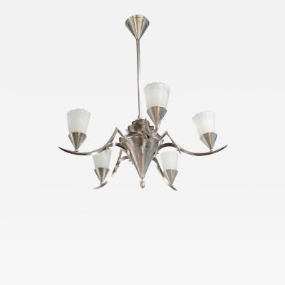 An Art Deco five light chandelier