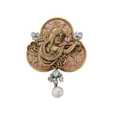 An Art Nouveau Plique A Jour Diamond and Pearl Brooch