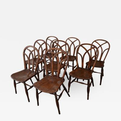 An Assembled Set of Eight Hoop Back Gothic Windsor Side Chairs
