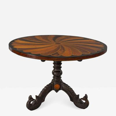 An Early 19th Century Sinhalese Ebony and Specimen Wood Center Table