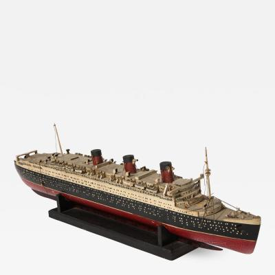 An Early Hand Made Wood Model of the RMS Queen Mary