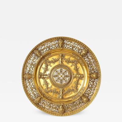An Elaborate French Gilt Bronze Ormolu Pierced Footed Centerpiece Platter 1880