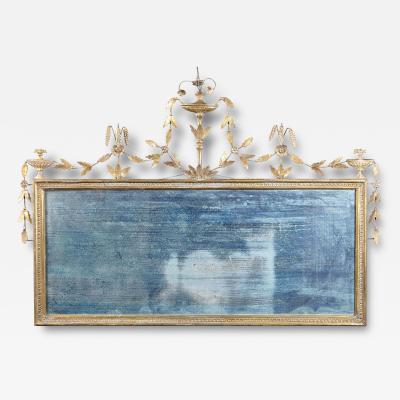 An Elegant English Hepplewhite Period Giltwood Overmantle Mirror circa 1780