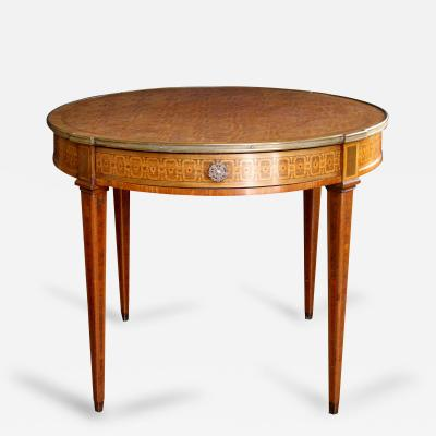 An Elegant French Louis XVI Style Tiger Mahogany Kingwood Bouillotte Table