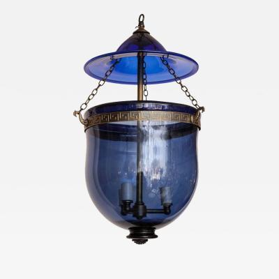 An English Cobalt Blue Hanging Glass Lantern