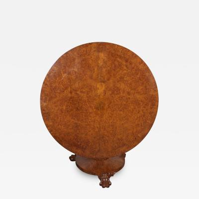 An English Late Regency Burled Walnut Center Table